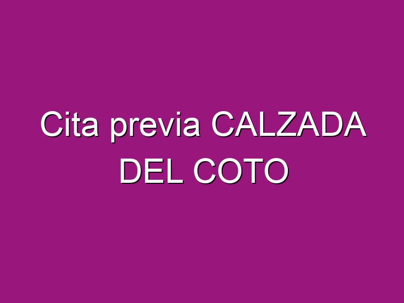 Cita previa CALZADA DEL COTO