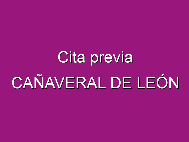Cita previa CAÑAVERAL DE LEÓN