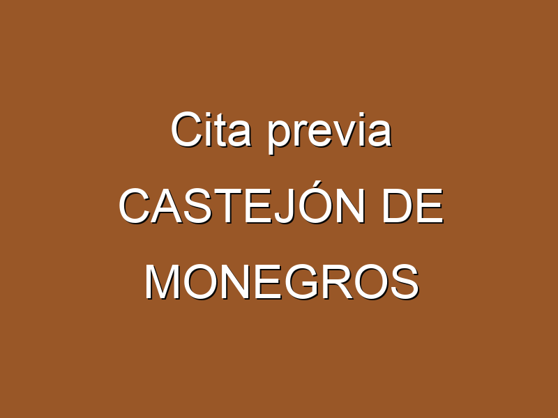 Cita previa CASTEJÓN DE MONEGROS