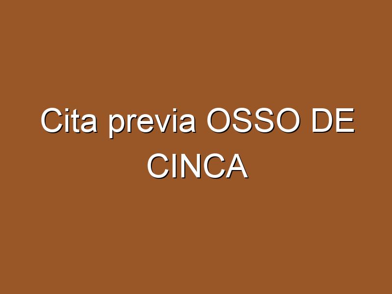 Cita previa OSSO DE CINCA