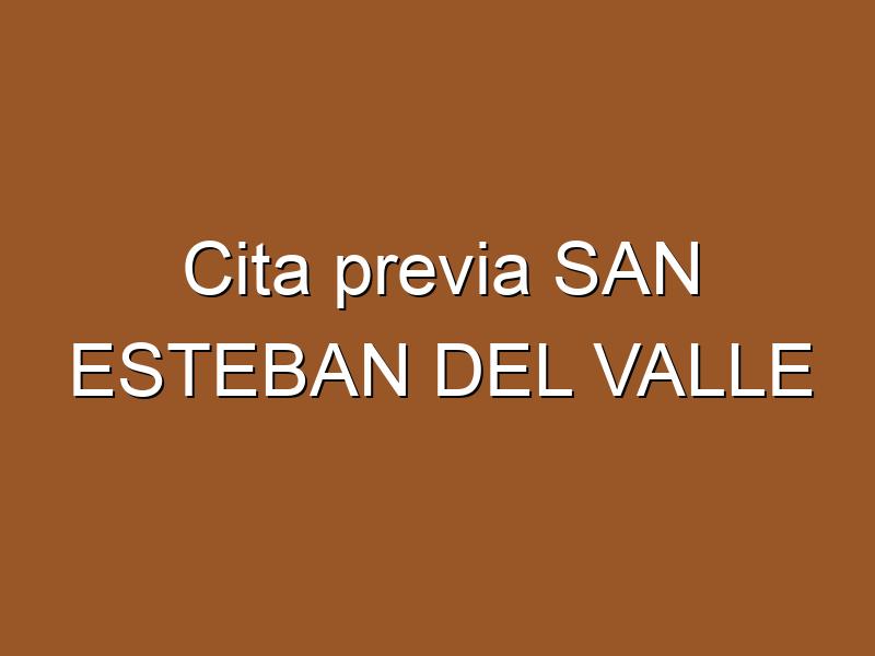Cita previa SAN ESTEBAN DEL VALLE