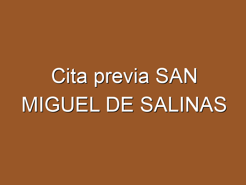 Cita previa SAN MIGUEL DE SALINAS