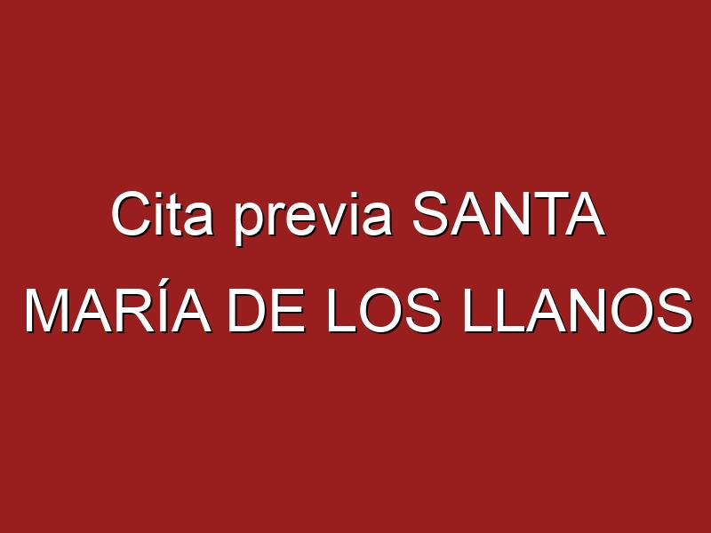 Cita previa SANTA MARÍA DE LOS LLANOS