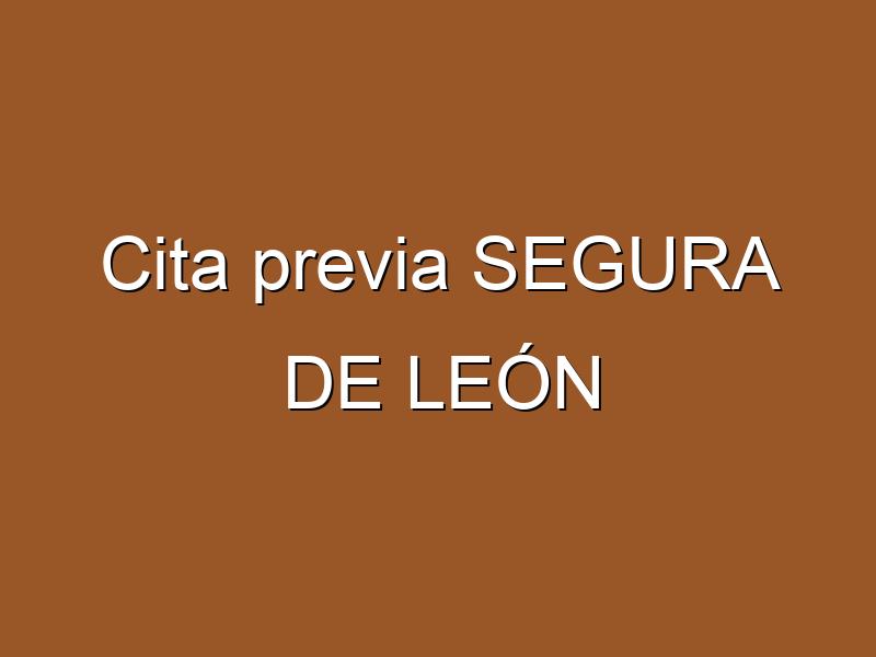 Cita previa SEGURA DE LEÓN