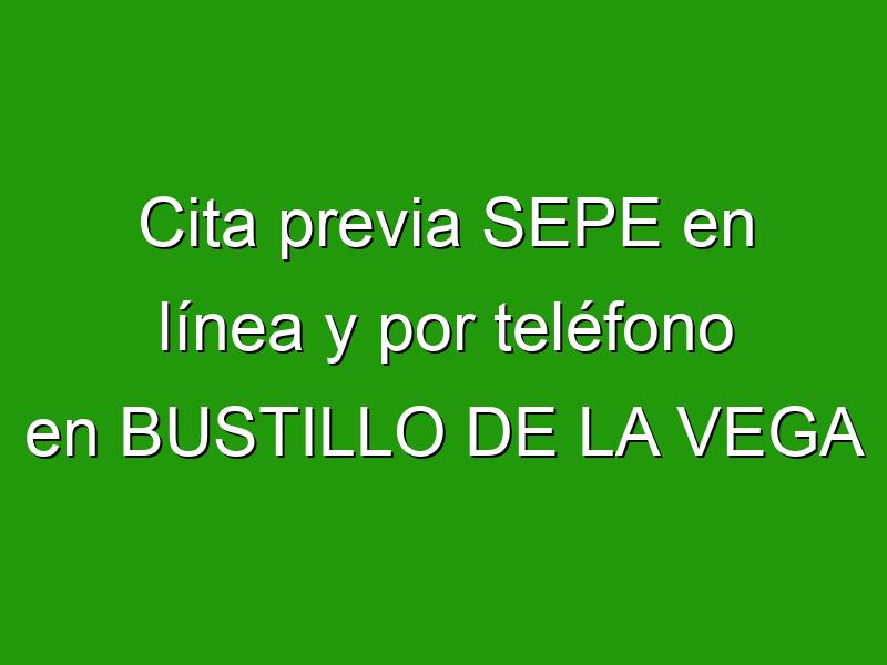 Cita previa SEPE en línea y por teléfono en BUSTILLO DE LA VEGA