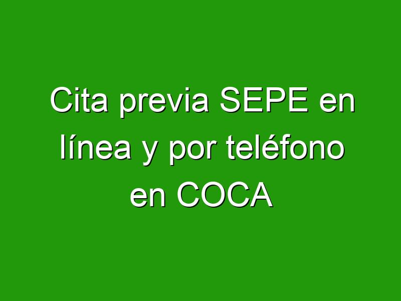 Cita previa SEPE en línea y por teléfono en COCA