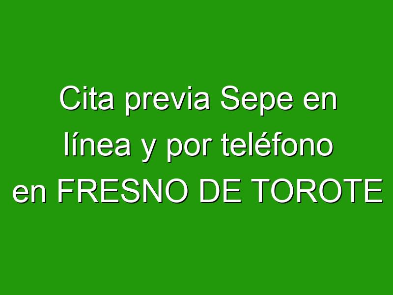 Cita previa Sepe en línea y por teléfono en FRESNO DE TOROTE