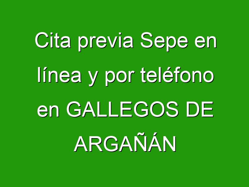 Cita previa Sepe en línea y por teléfono en GALLEGOS DE ARGAÑÁN