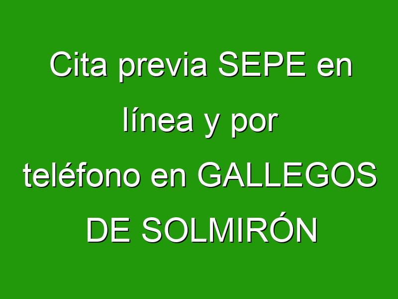 Cita previa SEPE en línea y por teléfono en GALLEGOS DE SOLMIRÓN