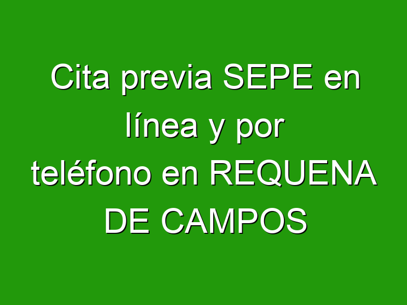 Cita previa SEPE en línea y por teléfono en REQUENA DE CAMPOS