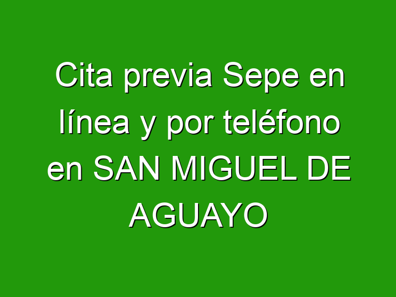Cita previa Sepe en línea y por teléfono en SAN MIGUEL DE AGUAYO