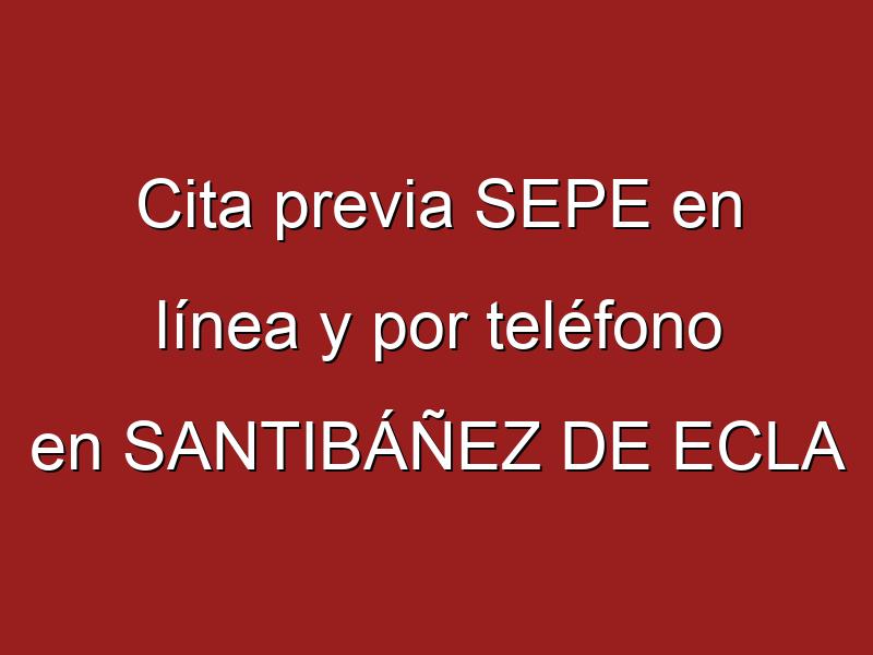 Cita previa SEPE en línea y por teléfono en SANTIBÁÑEZ DE ECLA