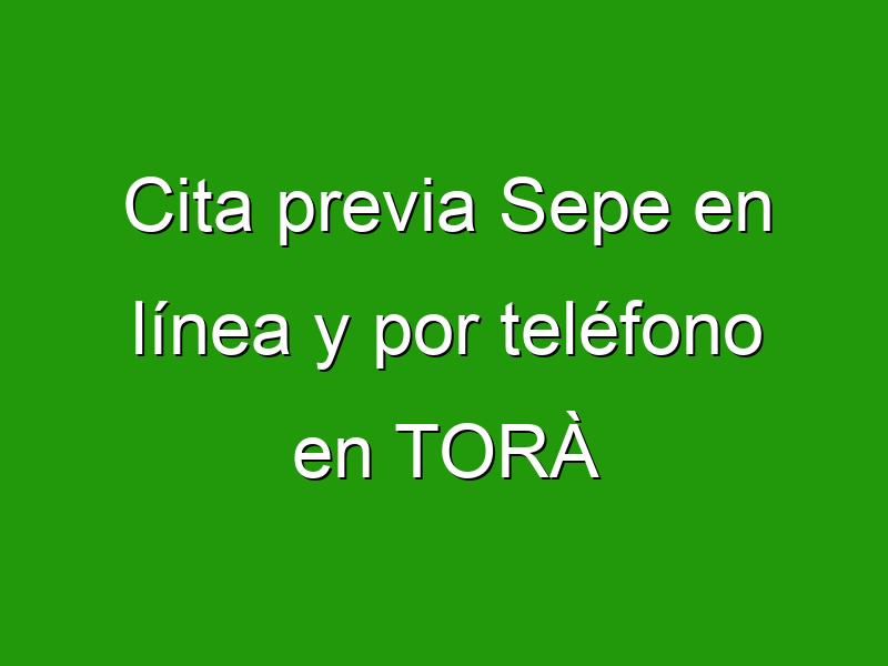 Cita previa Sepe en línea y por teléfono en TORÀ
