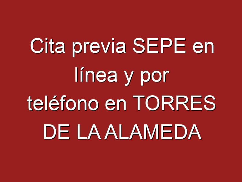 Cita previa SEPE en línea y por teléfono en TORRES DE LA ALAMEDA