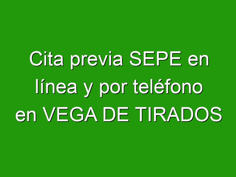 Cita previa SEPE en línea y por teléfono en VEGA DE TIRADOS