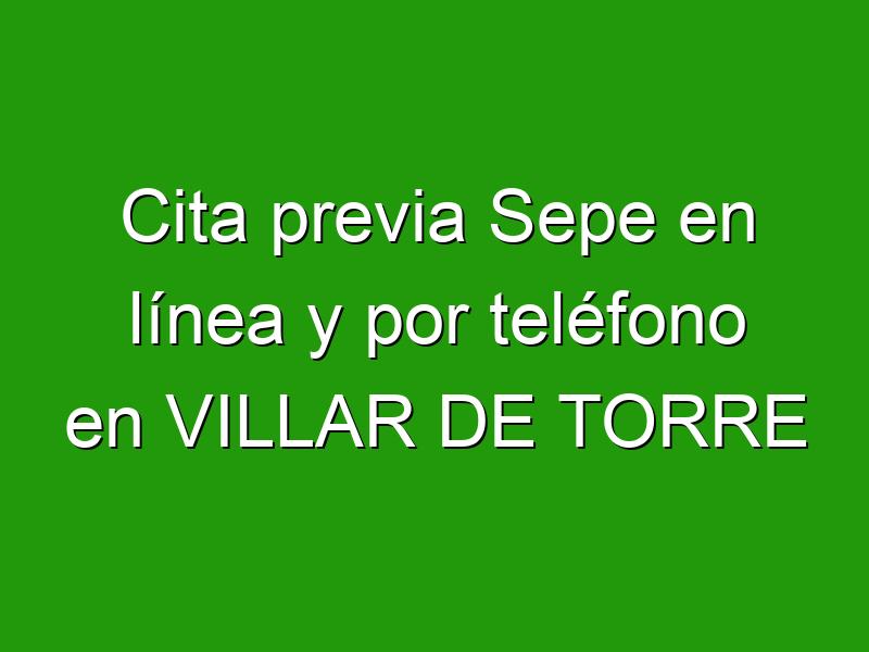 Cita previa Sepe en línea y por teléfono en VILLAR DE TORRE