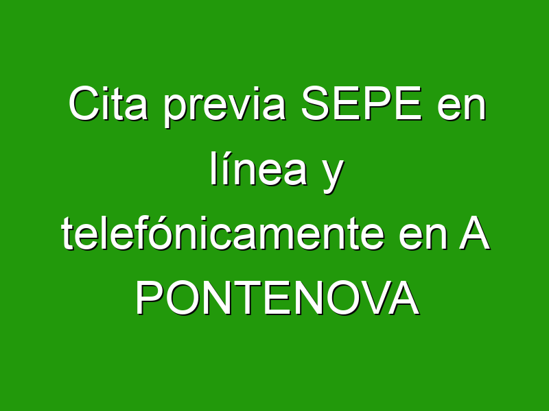 Cita previa SEPE en línea y telefónicamente en A PONTENOVA