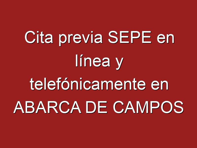 Cita previa SEPE en línea y telefónicamente en ABARCA DE CAMPOS