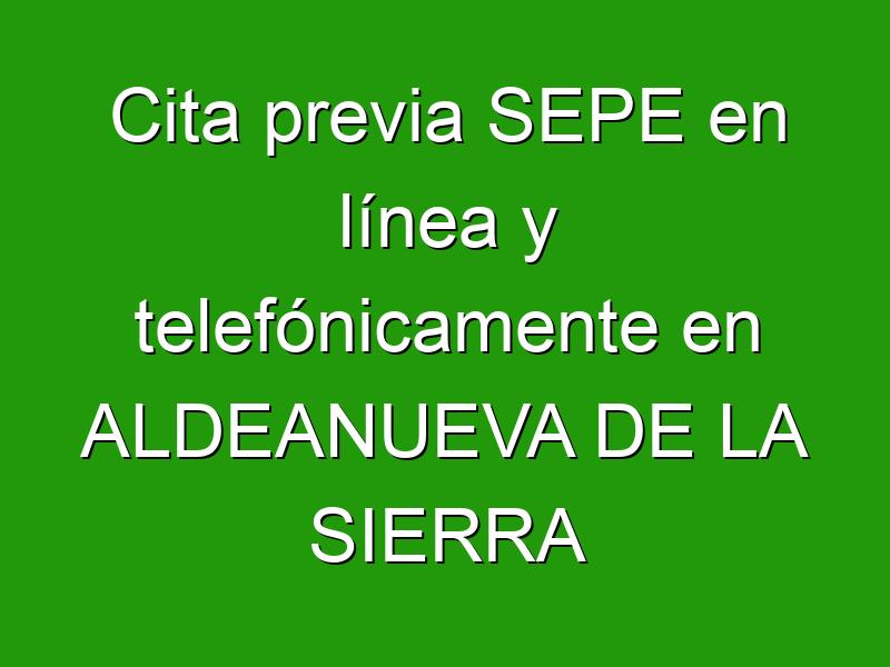 Cita previa SEPE en línea y telefónicamente en ALDEANUEVA DE LA SIERRA