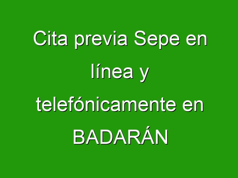 Cita previa Sepe en línea y telefónicamente en BADARÁN