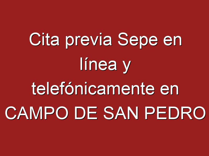 Cita previa Sepe en línea y telefónicamente en CAMPO DE SAN PEDRO