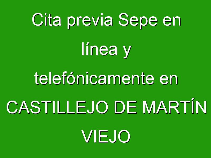 Cita previa Sepe en línea y telefónicamente en CASTILLEJO DE MARTÍN VIEJO