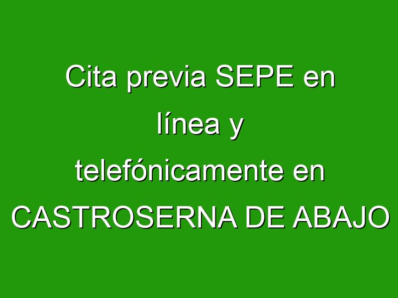 Cita previa SEPE en línea y telefónicamente en CASTROSERNA DE ABAJO