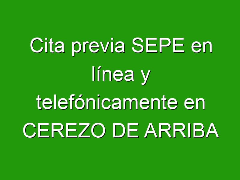 Cita previa SEPE en línea y telefónicamente en CEREZO DE ARRIBA