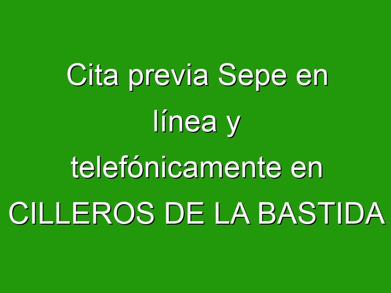 Cita previa Sepe en línea y telefónicamente en CILLEROS DE LA BASTIDA