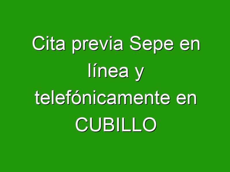 Cita previa Sepe en línea y telefónicamente en CUBILLO