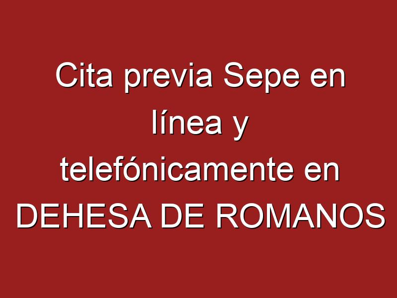Cita previa Sepe en línea y telefónicamente en DEHESA DE ROMANOS