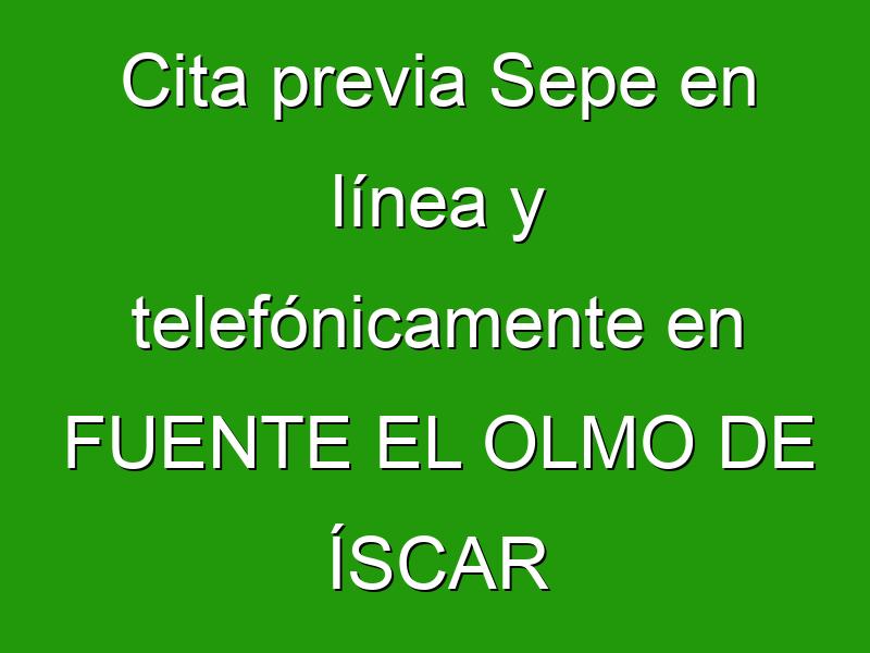 Cita previa Sepe en línea y telefónicamente en FUENTE EL OLMO DE ÍSCAR