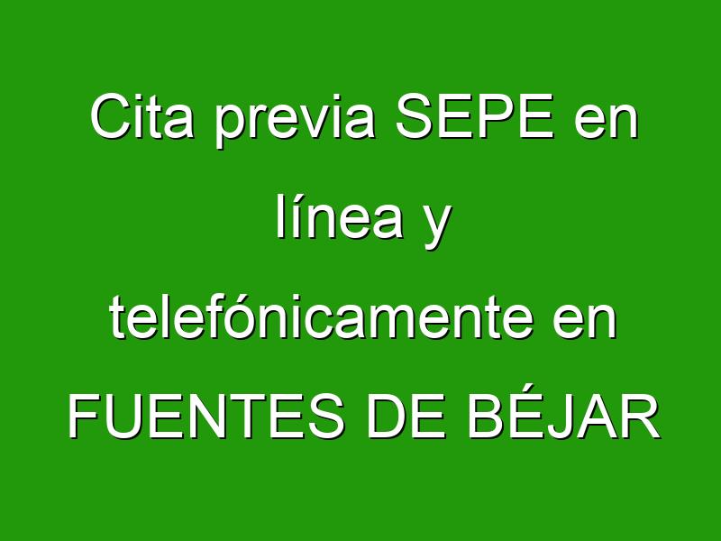 Cita previa SEPE en línea y telefónicamente en FUENTES DE BÉJAR
