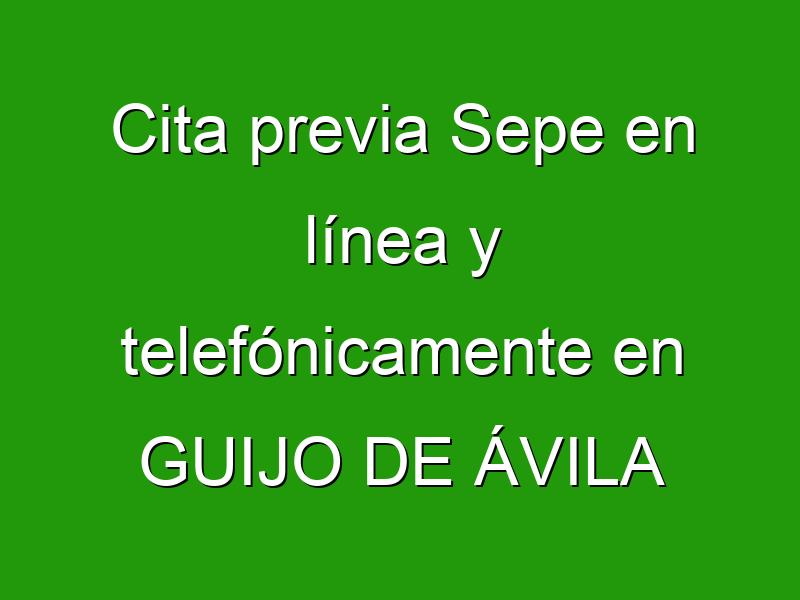 Cita previa Sepe en línea y telefónicamente en GUIJO DE ÁVILA