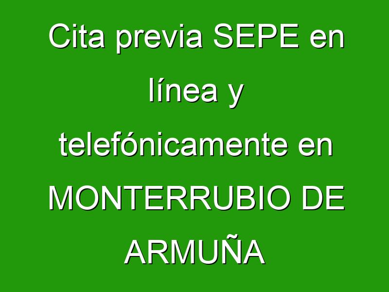 Cita previa SEPE en línea y telefónicamente en MONTERRUBIO DE ARMUÑA