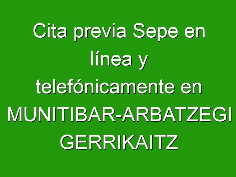 Cita previa Sepe en línea y telefónicamente en MUNITIBAR-ARBATZEGI GERRIKAITZ