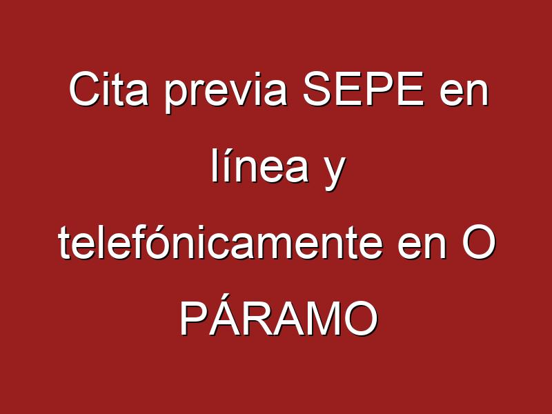 Cita previa SEPE en línea y telefónicamente en O PÁRAMO