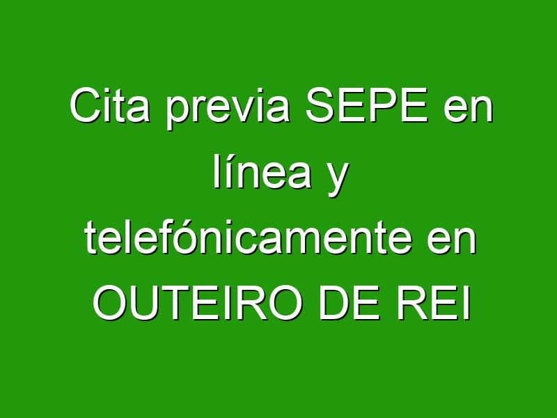 Cita previa SEPE en línea y telefónicamente en OUTEIRO DE REI