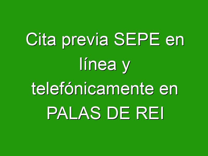 Cita previa SEPE en línea y telefónicamente en PALAS DE REI