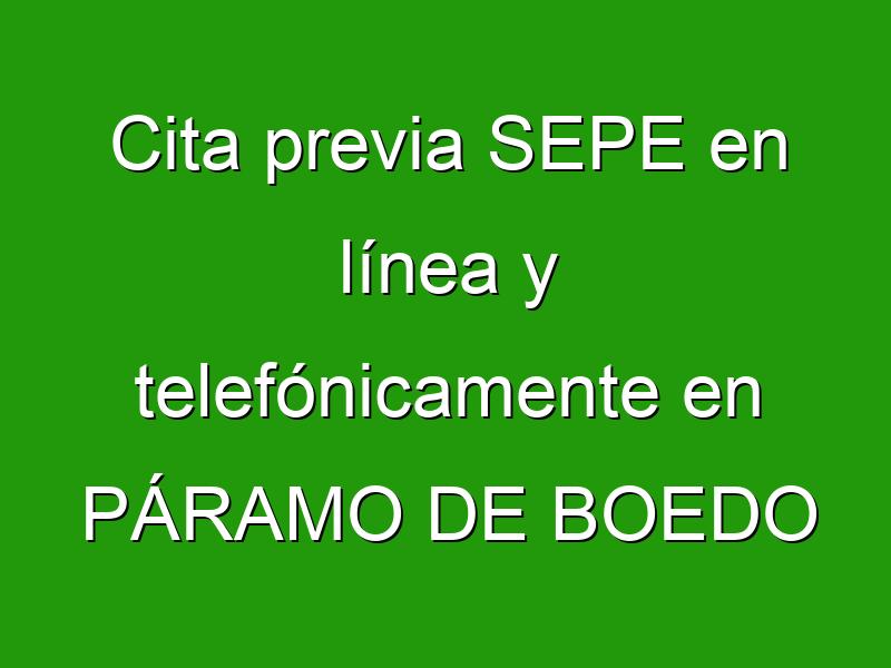Cita previa SEPE en línea y telefónicamente en PÁRAMO DE BOEDO