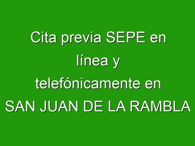 Cita previa SEPE en línea y telefónicamente en SAN JUAN DE LA RAMBLA