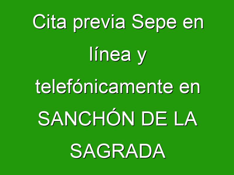 Cita previa Sepe en línea y telefónicamente en SANCHÓN DE LA SAGRADA