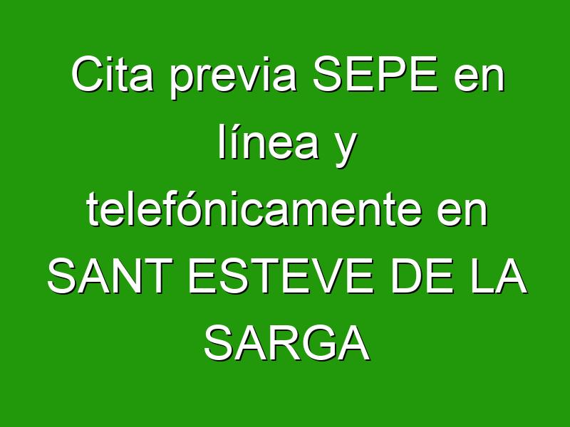 Cita previa SEPE en línea y telefónicamente en SANT ESTEVE DE LA SARGA