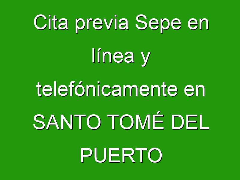 Cita previa Sepe en línea y telefónicamente en SANTO TOMÉ DEL PUERTO