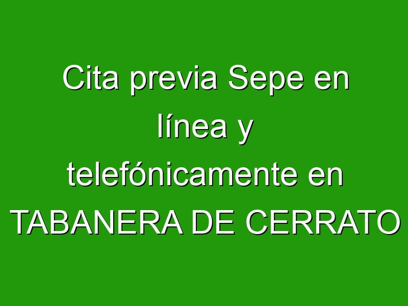 Cita previa Sepe en línea y telefónicamente en TABANERA DE CERRATO