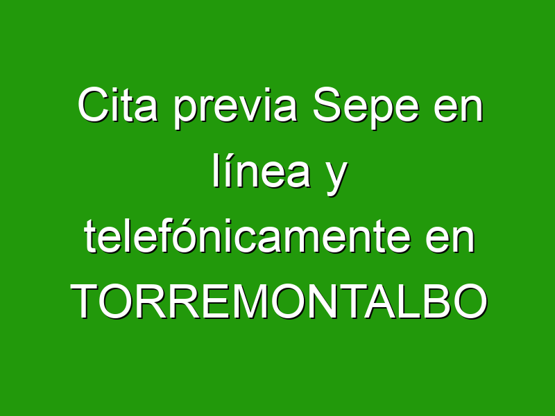 Cita previa Sepe en línea y telefónicamente en TORREMONTALBO