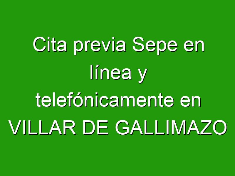 Cita previa Sepe en línea y telefónicamente en VILLAR DE GALLIMAZO