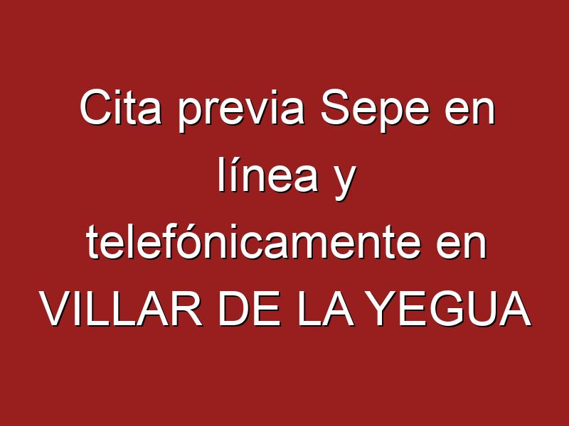 Cita previa Sepe en línea y telefónicamente en VILLAR DE LA YEGUA