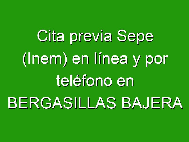Cita previa Sepe (Inem) en línea y por teléfono en BERGASILLAS BAJERA