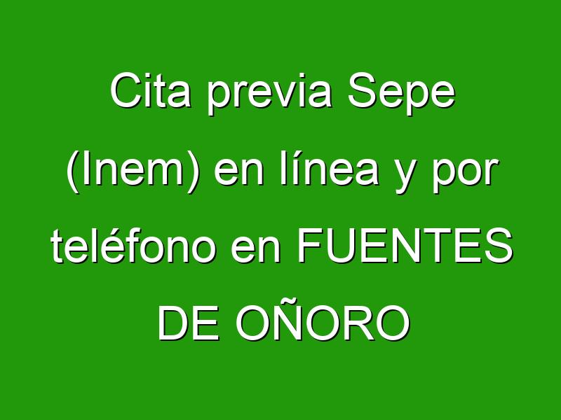 Cita previa Sepe (Inem) en línea y por teléfono en FUENTES DE OÑORO